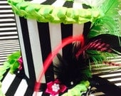 Black and White Striped Mini Top Hat Fascinator with Green and Pink Dressings