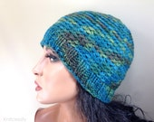 Womens Beanie Hat, Custom Made Hand Dyed Blue Green Teal Baby Alpaca Crochet Knit Hat, Reversible // BEDFORD // Shown in Color H20