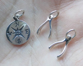 Sterling Silver Small Wishbone Charms(two total) or Compass Charm(one charm)