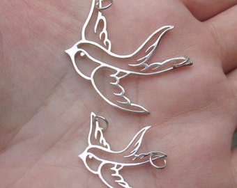 Sterling Silver Large or small Swallow Bird Pendant(one swallow)