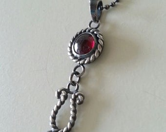 Garnet Necklace Pendant in Sterling Silver