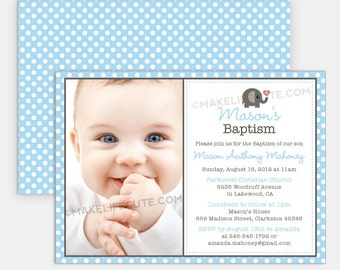 "ELEPHANT - Printable 5""x7"" Photo Invitation - Baptism, Christening, Dedication or First Communion - Baby Elephant Collection by MakeLifeCute"