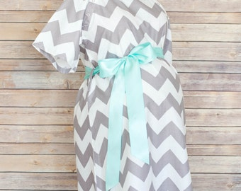 Gray Chevron Maternity Hospital Delivery Gown-Super Soft -Perfect Snaps for Breastfeeding, Skin to Skin, and Epidural