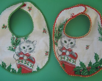 Vintage Upcycled Christmas Kitten Fabric Baby Bib