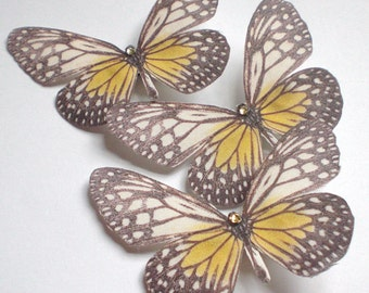 Hand Cut silk butterfly hair clip - Yellow and Black