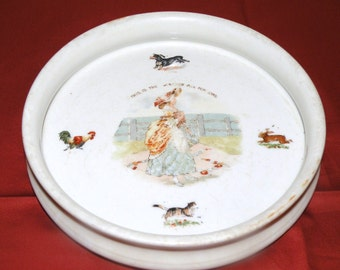 "Antique Pottery Childs Feeding Dish ""This is the Maiden all Forlorn"""