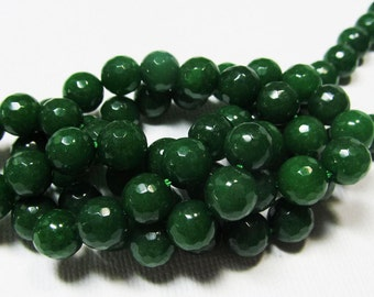 LOOSE Gemstone Beads - Jade Beads - Faceted 8mm Rounds - Emerald Green (8 beads) - gem920