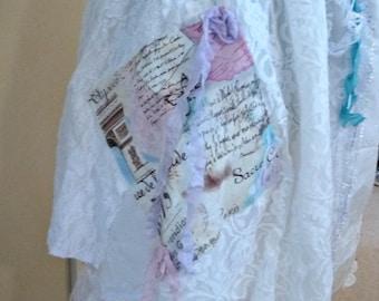 Paris Map Skirt Layered Eiffel Tower Womens Patchwork Pop Art Collage Wearable Vintage Linens Crochet Doily Tattered