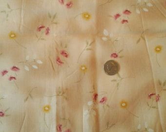 """Sale  Beige Dusty Rose and Gold Floral 100% Cotton Fabric Remnant 3/4 yard x 44"""""""
