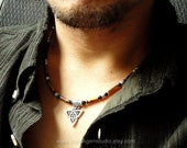Tiger Eye Black Onyx Necklace for Men, Celtic Knot Triquetra Charm, Men's Beaded Necklace, Jewelry for Guys, Dad, Him