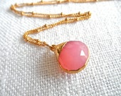 Small  Pale Pink Chalcedony necklace - gold necklace - pink and gold - pink necklace - A M E L I A 228