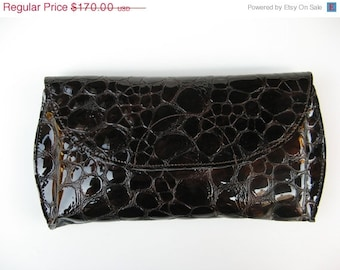 CLEARANCE SALE 50% OFF Take Me Out Leather Clutch - Women's Leather Clutch - in Glossy Croco Brown - Last One in stock
