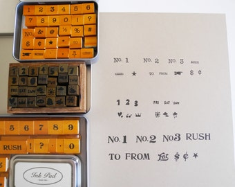 Numbers and Symbols Rubber Stamps