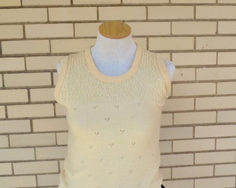 SALE 60s  sweater vest-- cream-- Mr. Divo New York