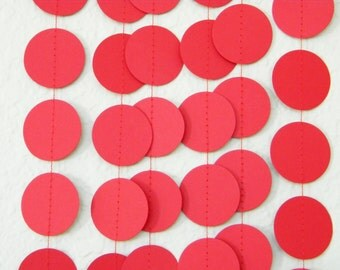 Red Paper Garland, Red Valentine Photoprop, Red Holiday Birthday Party Decorations, Red Wedding Decor, Bridal Shower Decor