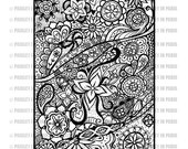 Floral Zentangle Coloring Page, Black and White, Printable Download File