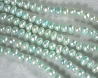 Light Aqua Pearls Side Drilled Nugget Freshwater - Full Strand (4290)