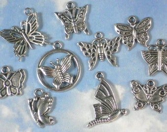 BuLK 50 Butterfly Charms Collection Silver Tone 10 Styles Pendants  Antiqued Garden Party (Com10 -50)