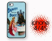 iPhone Case Beauty and the Beast  | Hard Case For iPhone 4 and iPhone 4S Childrens Fairytale  Rubber Trim