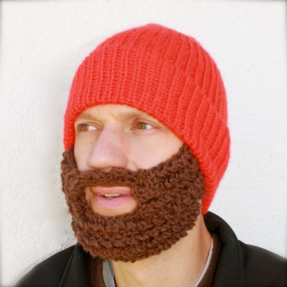The Original Beard Beanie Hunter Orange Bearded Stocking Hat