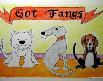 GoT FaNgS 4x6 original watercolor painting