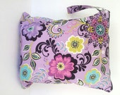 Purple, Black Floral Wet Bag, wetbag,  cloth diaper bag, swimsuits bag, kitchen, wet bag,  gym bag, nappy bag, laundry bag