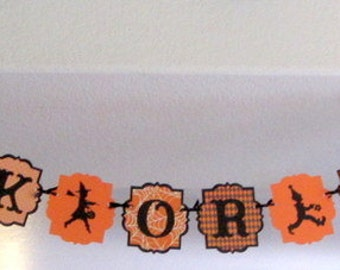 Halloween Banner - TRICK OR TREATers Paper Garland, party decoration decor swag bunting paper