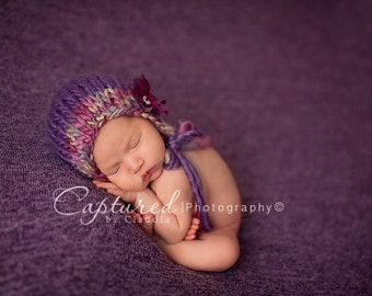 Going Home Hat Newborn Knitted Mohair Girl Bonnet Baby Photo Prop Plum Coming Home Outfit Flower Infant Pixie Fall Knit Organic Winter Prop