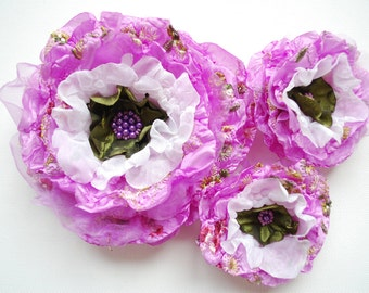 lavender purple white green silky roses, weddings accessories, bridal hair clip, brooch, bridesmaids head pieces, bridal sash flowers