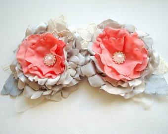 grey gray coral satin flowers, weddings bridal accessories, bridesmaids hair clip, brooch, bridal grey hair clip flowers, flower girl, sash
