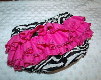 Girl Baby Shower Animal Print Zebra Black White Hot Pink Ruffle Diaper Booty Bloomers Cover Newborn thru 24 months