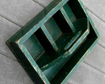 Vintage Wooden Box Carrier Garden Tote Utility Box Green Painted Divided Primitive