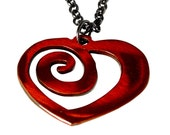 Heart Necklace /Valentine / Bridesmaid Gifts / Anniversary Gifts / Red Heart / Eternal Love / Gift for Her /Spiral Heart