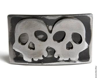 Twin Skulls Distressed Metal Belt Buckle by WATTO Distinctive Metal Wear