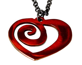 Heart Necklace /Valentine / Bridesmaid Gifts / Anniversary Gifts / Red Heart / Eternal Love / Gift for Her /Spiral Heart /Heart Charm / Red