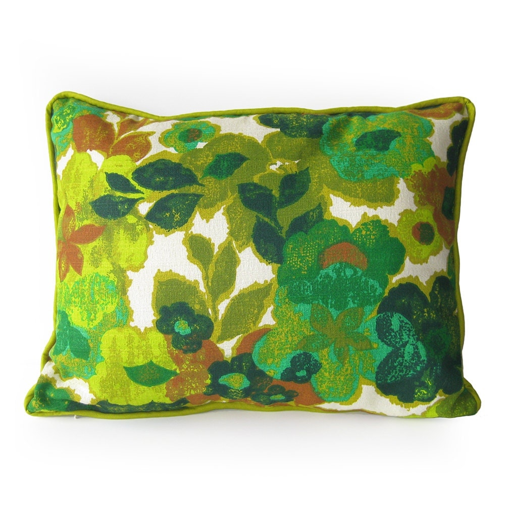 Barkcloth Throw Pillow with Piping 1960s Vintage Fabric