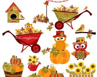 Autumn Clip Art _ Fall owls clip art. Autumn Owls,Pumpkin ,cute autumn,cute animal, fall clip art, instant download