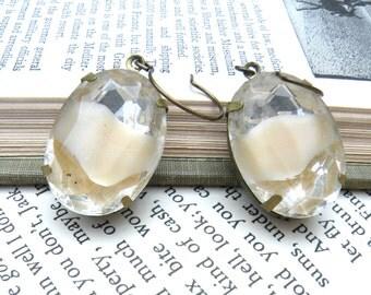 large cream jewel earrings vintage stones glass givre