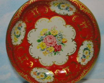 1971 Daher Decorative Ware red and gold with  Flower Bowl.