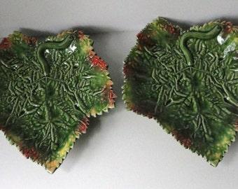 Majolica Bordallo Pinheiro Leaf footed Dish. Set of 2