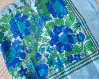 Vintage Accessory Scarf Women's Silk Blue Floral Scarf