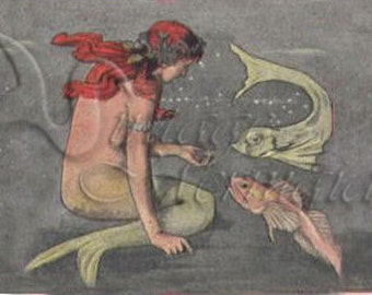 VINTAGE ART NOUVEAU Mermaid Postcard Fabric Print Block for Quilting anm04.