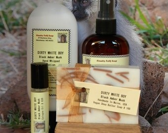 DIRTY WHITE BOY Mens Soap Gift Set - Black Amber, Spice & Musk Soap