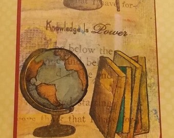 Graduation Card - Knowledge is Power, Blank Card, Congrats, Grad, Gift, Congratulations