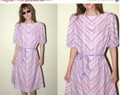 SALE Rainbow Chevron Summer Vintage Dress 20 1/2