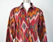 Vintage Western Blouse by Blair Native American Indian Design Southwestern Soft 80s 90s Womens Ladies Medium Large