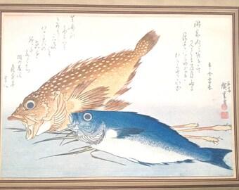 Vintage Japanese Print Fish Magazine Insert Painting by Ando Hiroshige
