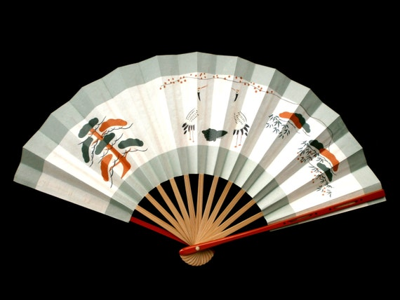 Hand Fan Ogi Sensu Hand Painted Small Size F77 Crane Turtle Pine Tree Japanese Lucky Symbols