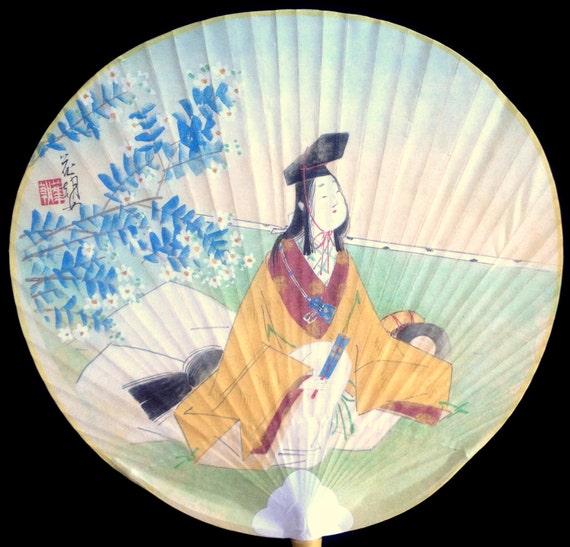 Japanese paper paddle fan uchiwa vintage fan japanese - Japanese paddle fan ...