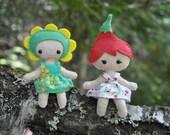 Flower Pixie Doll Sewing Patterns - 2 Felt Mini Pocket Dolls * Woodland Fairy Pixie Dolls * Tiny 4 inches Tall